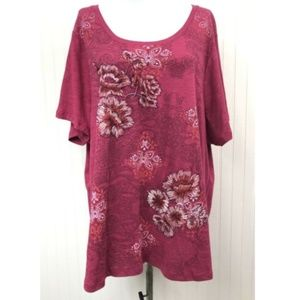 Style & Co. NWT Floral Embroidered Graphic Tee S/S
